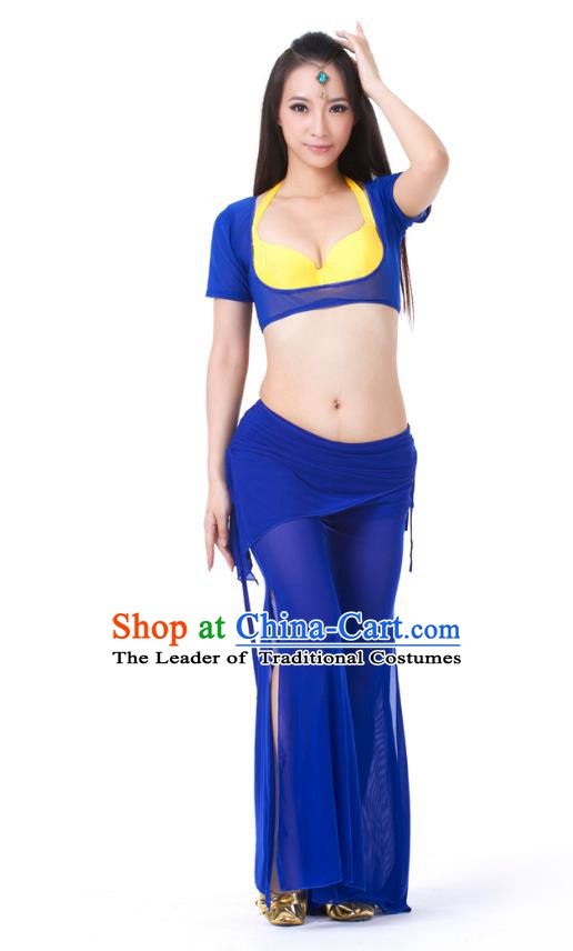 Asian Indian Belly Dance Deep Blue Uniform India Raks Sharki Dress Oriental Dance Clothing for Women