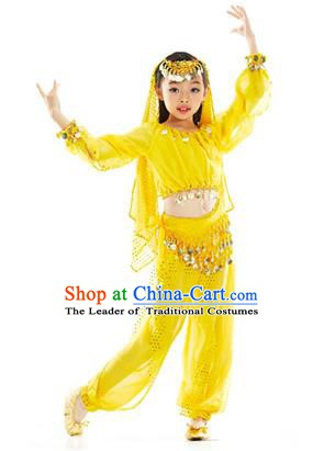 Asian Indian Belly Dance Uniform India Raks Sharki Dress Oriental Dance Yellow Clothing for Kids