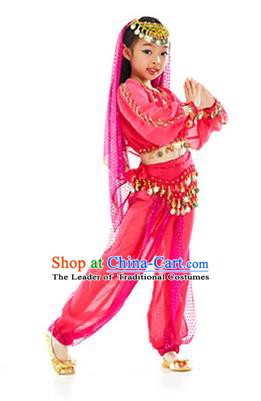 Asian Indian Belly Dance Uniform India Raks Sharki Dress Oriental Dance Rosy Clothing for Kids