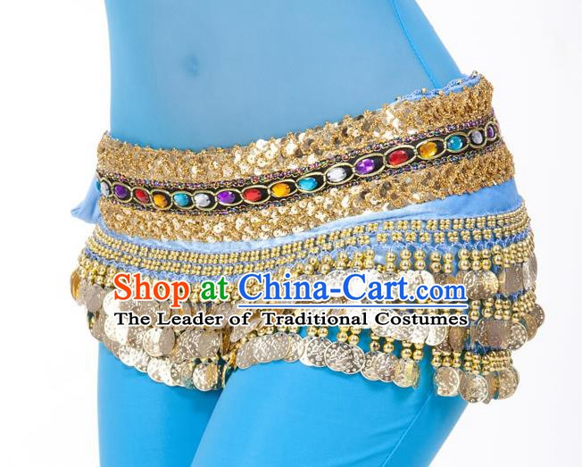 Asian Indian Belly Dance Diamante Waist Accessories Blue Waistband India Raks Sharki Belts for Women
