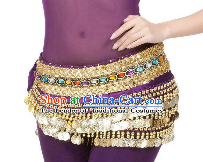 Asian Indian Belly Dance Diamante Waist Accessories Purple Waistband India Raks Sharki Belts for Women
