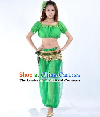 Asian Indian Belly Dance Costume Stage Performance Yoga Green Uniform, India Raks Sharki Dress for Women