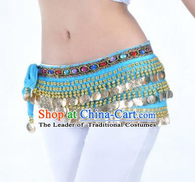 Asian Indian Traditional Belly Dance Blue Belts Waistband India Raks Sharki Waist Accessories for Women