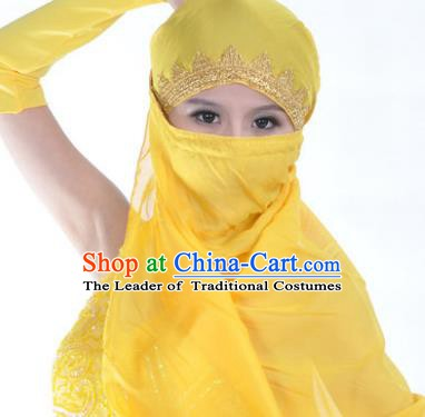 Asian Indian Belly Dance Accessories Yashmak India Traditional Dance Yellow Veil for for Women