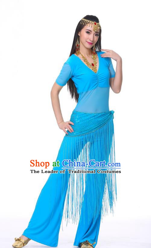 Indian Belly Dance Costume India Raks Sharki Blue Suits Oriental Dance Clothing for Women