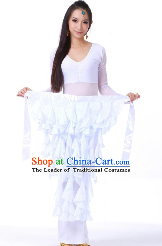 Indian Traditional Belly Dance Belts White Hip Scarf Waistband India Raks Sharki Waist Accessories for Women