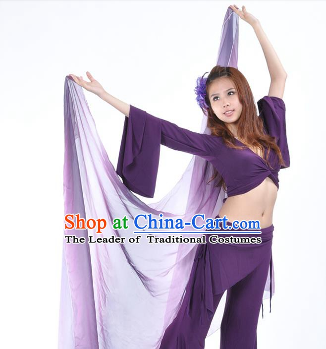 Asian Indian Belly Dance Accessories Gradient Purple Gauze Kerchief India Traditional Dance Scarf for for Women