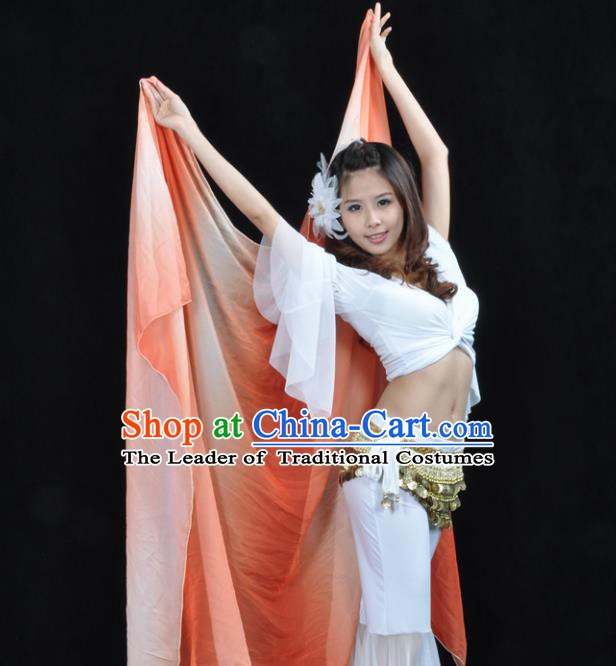 Asian Indian Belly Dance Accessories Gradient Orange Gauze Kerchief India Traditional Dance Scarf for for Women