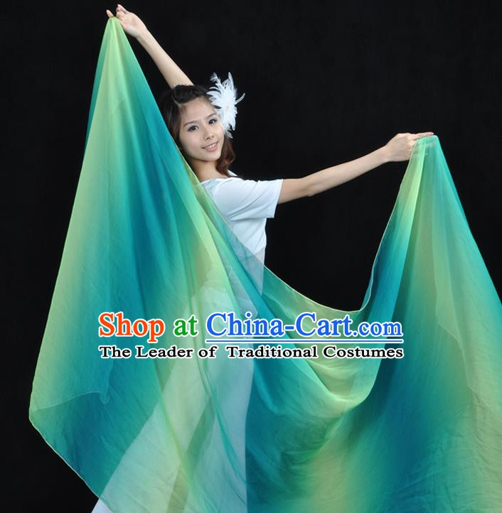 Asian Indian Belly Dance Accessories Gradient Green Gauze Kerchief India Traditional Dance Scarf for for Women