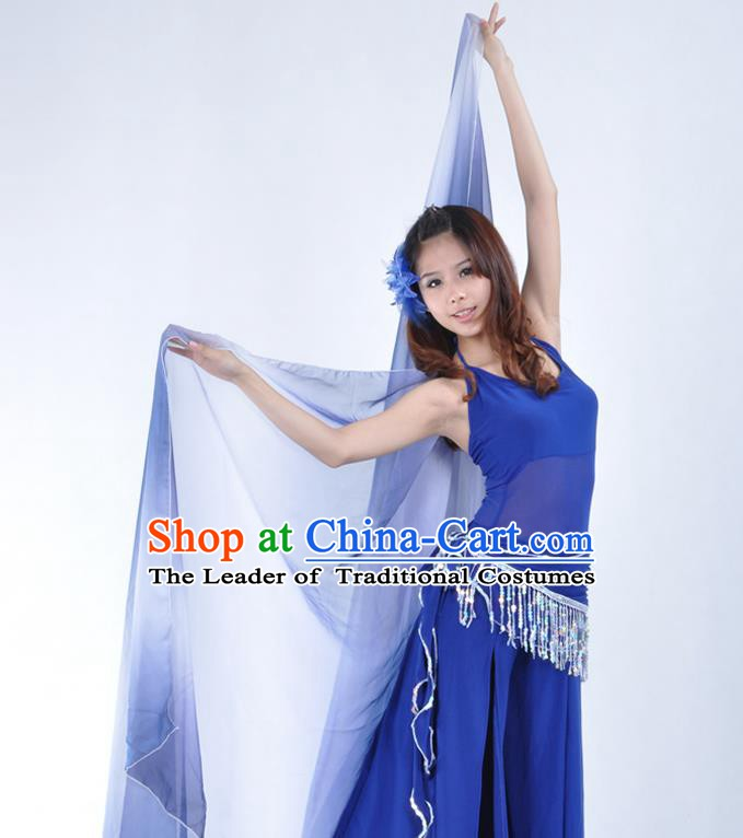 Asian Indian Belly Dance Accessories Deep Blue Gauze Kerchief India Traditional Dance Scarf for for Women
