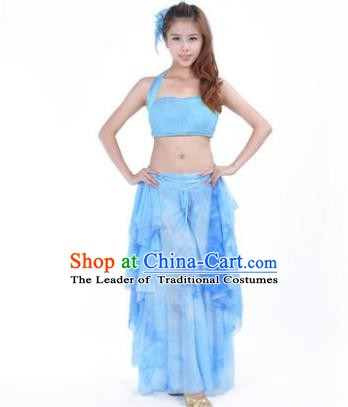 Indian Belly Dance Yoga Blue Dress, India Raks Sharki Dance Clothing for Women