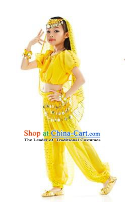 Top Indian Belly Dance Costume Oriental Dance Yellow Dress, India Raks Sharki Clothing for Kids
