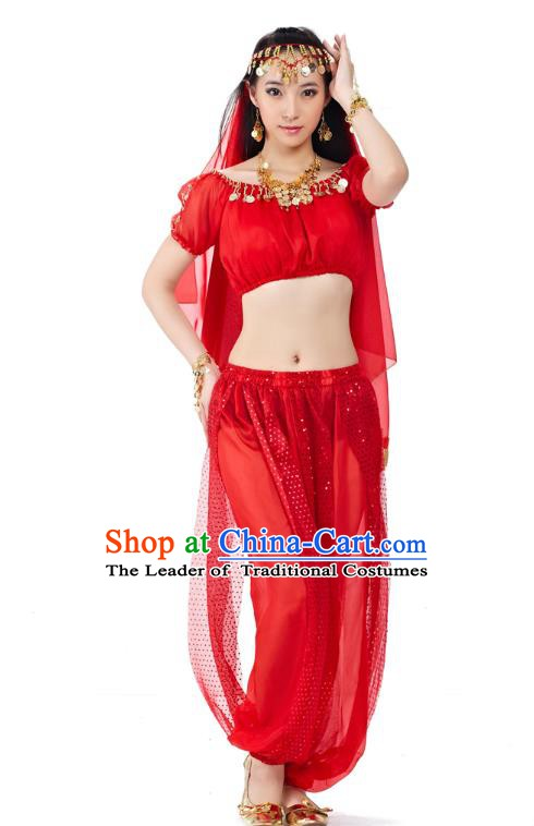 Top Indian Bollywood Belly Dance Costume Oriental Dance Red Dress, India Raks Sharki Clothing for Women