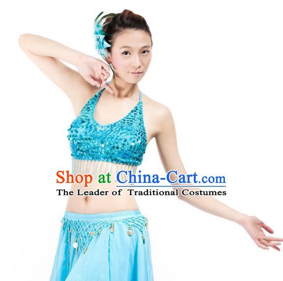 e44e56d6dfa3 Top Indian Bollywood Belly Dance Costume Oriental Dance Blue Paillette  Brassiere for Women