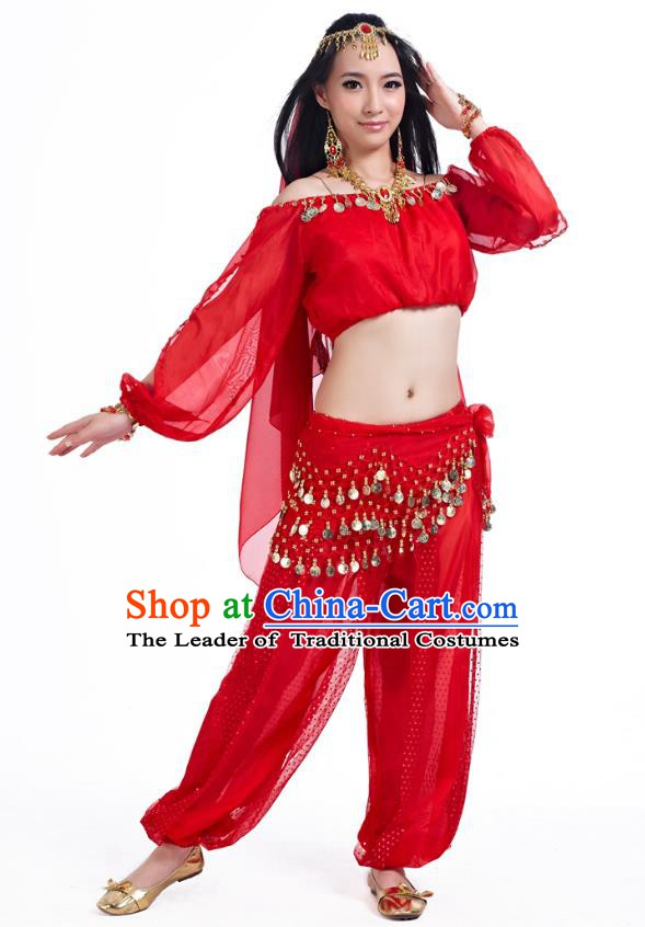 Top Indian Bollywood Belly Dance Red Costume Oriental Dance Stage Performance Clothing for Women