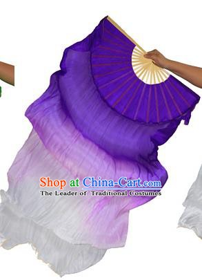 China Folk Dance Folding Fans Yanko Dance Purple White Silk Fans for for Women