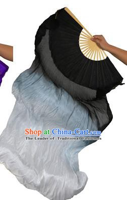China Folk Dance Folding Fans Yanko Dance Black White Silk Fans for for Women