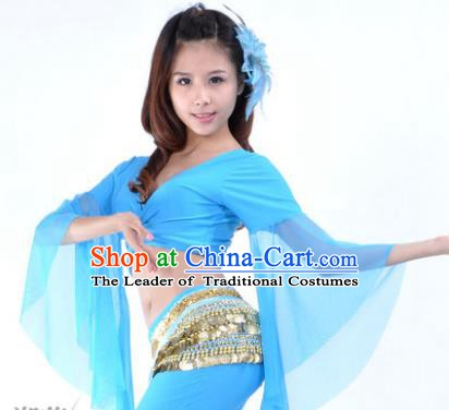 Indian Oriental Dance Belly Dance Costume Upper Outer Garment India Raks Sharki Blue Blouse for Women
