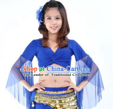 Indian Oriental Dance Belly Dance Costume Upper Outer Garment India Raks Sharki Royalblue Blouse for Women