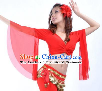 Indian Oriental Dance Belly Dance Costume Upper Outer Garment India Raks Sharki Red Blouse for Women