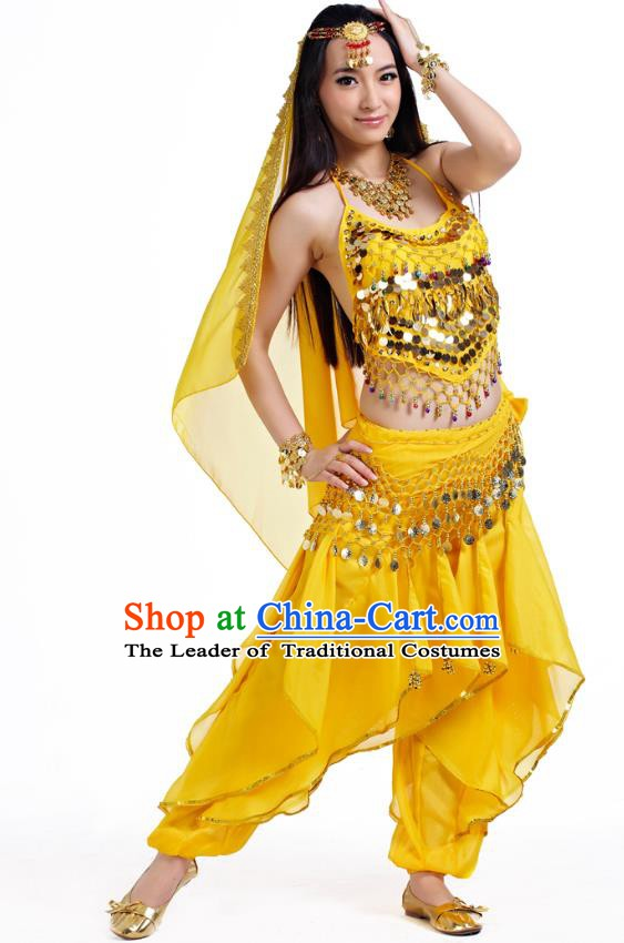 Indian Oriental Belly Dance Yellow Costume, India Raks Sharki Bollywood Dance Clothing for Women