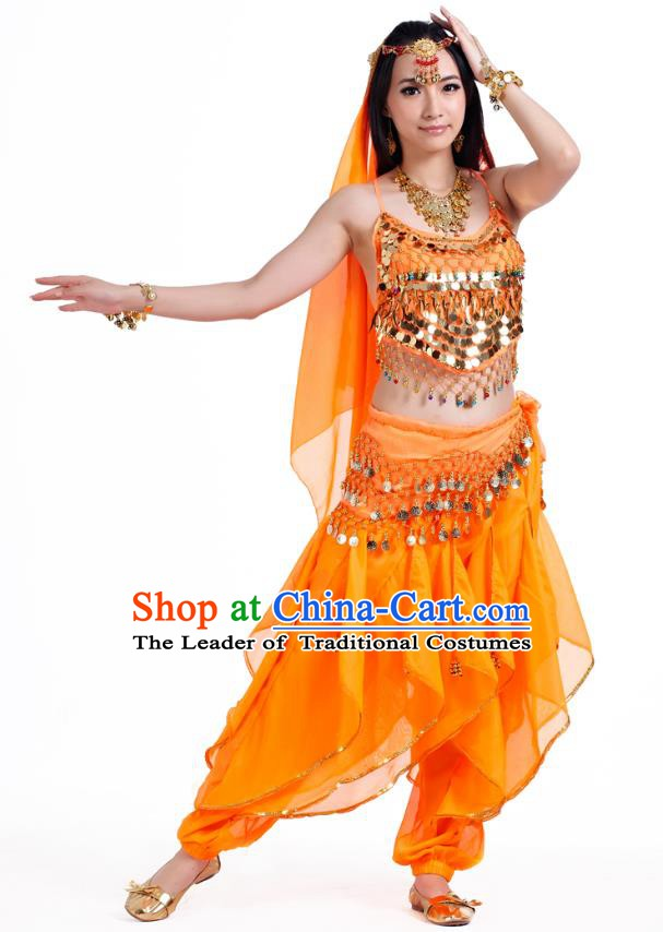 Indian Oriental Belly Dance Orange Costume, India Raks Sharki Bollywood Dance Clothing for Women