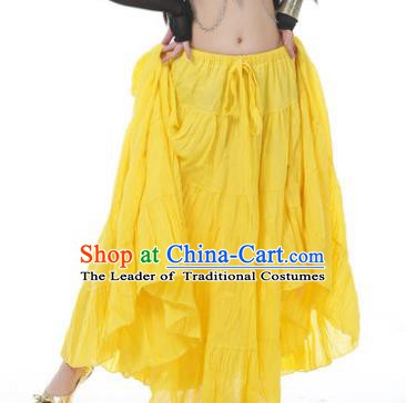 Indian Oriental Belly Dance Costume Yellow Bust Skirt, India Raks Sharki Bollywood Dance Clothing for Women