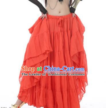 Indian Oriental Belly Dance Costume Orange Bust Skirt, India Raks Sharki Bollywood Dance Clothing for Women