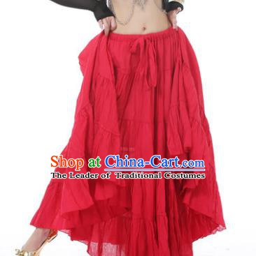 Indian Oriental Belly Dance Costume Red Bust Skirt, India Raks Sharki Bollywood Dance Clothing for Women