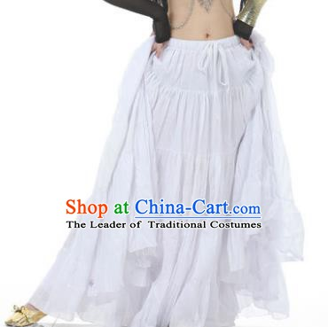 Indian Oriental Belly Dance Costume White Bust Skirt, India Raks Sharki Bollywood Dance Clothing for Women