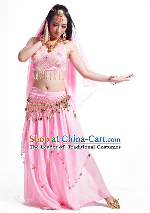 Indian Belly Dance Costume Oriental Dance Pink Dress, India Raks Sharki Bollywood Dance Clothing for Women