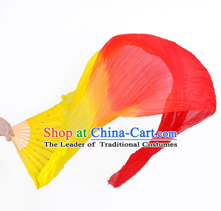 China Folk Dance Folding Fans Yanko Dance Gradient Silk Fans for Women
