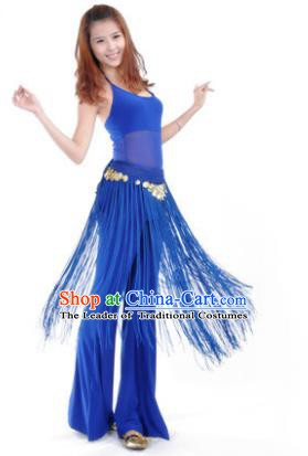 Indian Belly Dance Yoga Deep Blue Suits, India Raks Sharki Dance Clothing for Women
