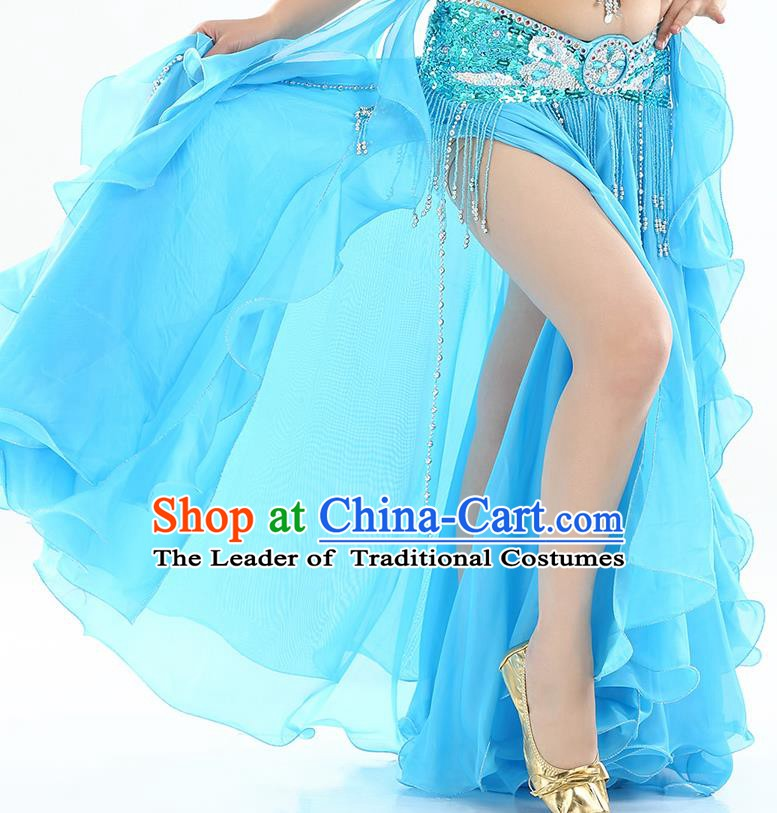 Top Indian Belly Dance Costume High Split Blue Skirt Oriental Dance Stage Performance Clothing for Women