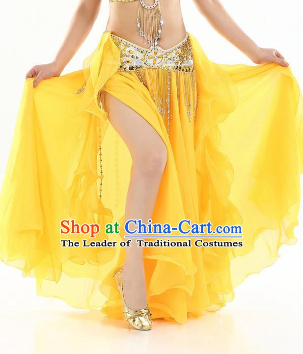 Top Indian Belly Dance Costume High Split Yellow Skirt Oriental Dance Stage Performance Clothing for Women