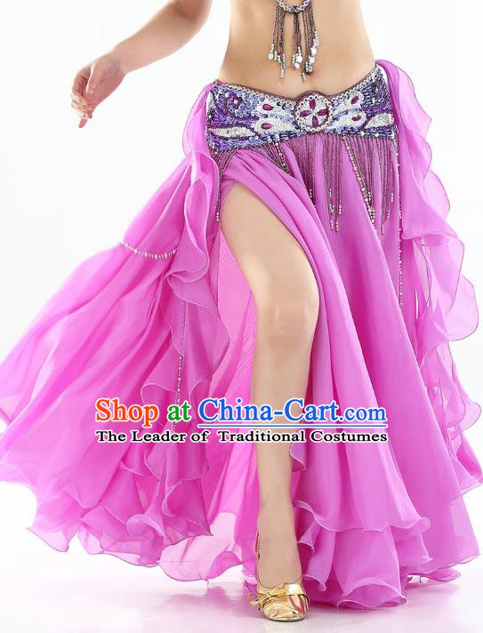Top Indian Belly Dance Costume High Split Lilac Skirt Oriental Dance Stage Performance Clothing for Women