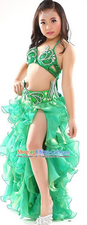 Top Indian Belly Dance Costume Bollywood Oriental Dance Stage Performance Green Dress for Kids