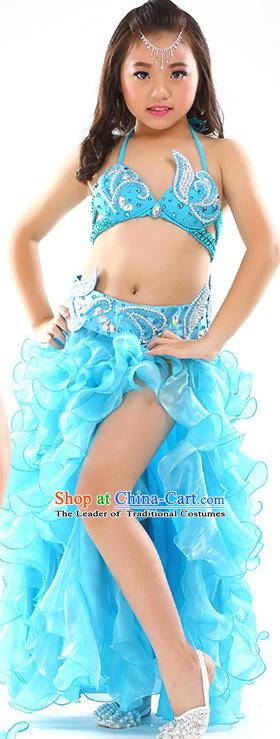 Top Indian Belly Dance Costume Bollywood Oriental Dance Stage Performance Blue Dress for Kids