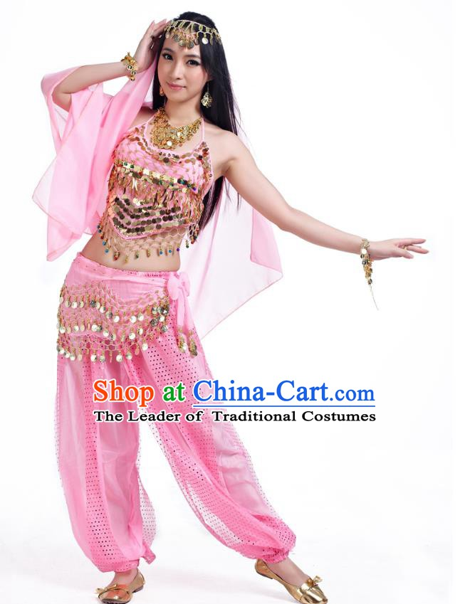d08ed3891 Indian Belly Dance Costume Bollywood Oriental Dance Pink Clothing for Women