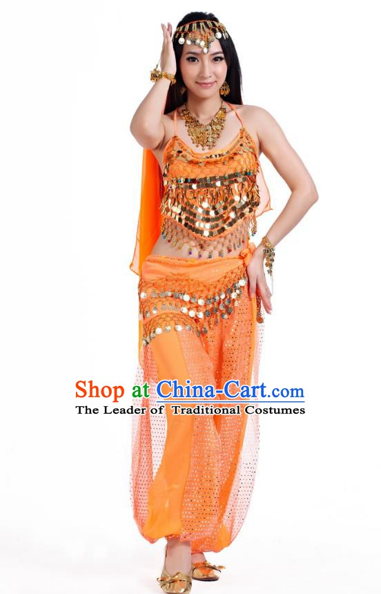 Indian Belly Dance Costume Bollywood Oriental Dance Orange Clothing for Women