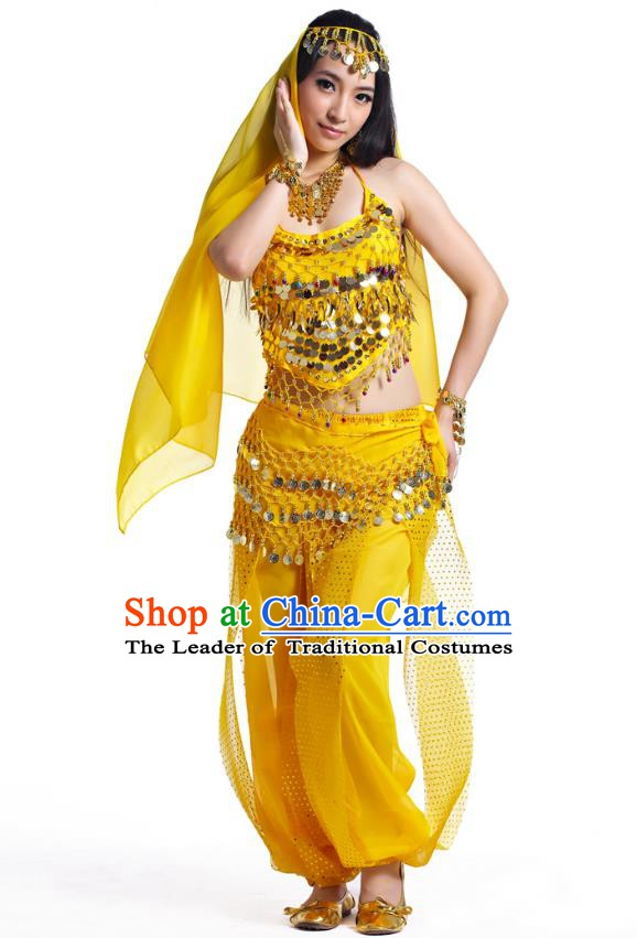 Indian Belly Dance Costume Bollywood Oriental Dance Yellow Clothing for Women