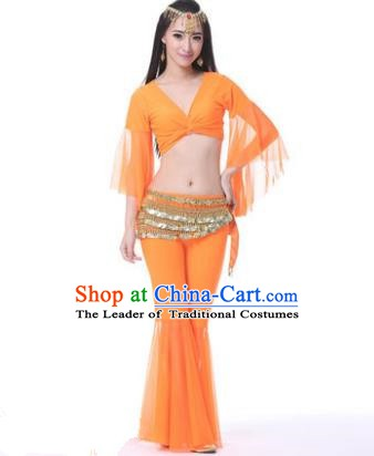 Asian Indian Belly Dance Training Orange Uniform India Bollywood Oriental Dance Clothing for Women