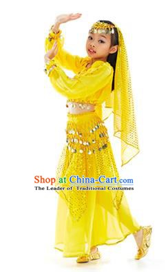 Indian Traditional Belly Dance Yellow Dress Asian India Oriental Dance Costume for Kids