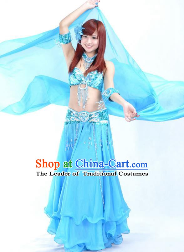 Indian Bollywood Belly Dance Blue Dress Clothing Asian India Oriental Dance Costume for Women