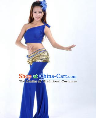 Asian Indian Belly Dance Costume India Oriental Dance Deep Blue Suits for Women
