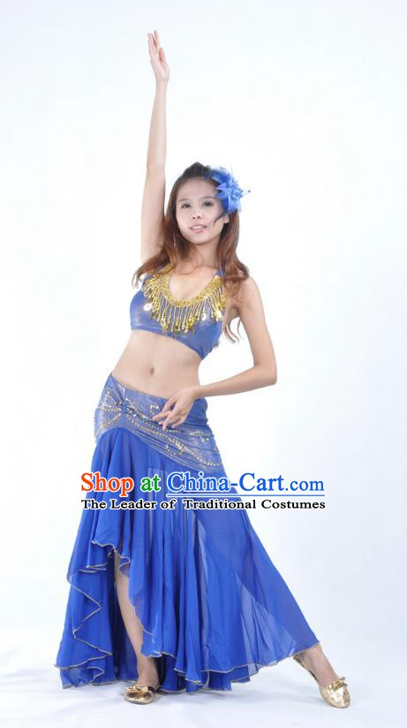Asian Indian Traditional Belly Dance Costume India Oriental Dance Deep Blue Dress for Women