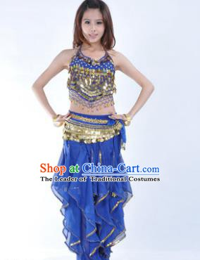 Indian Traditional Belly Dance Costume Asian India Oriental Dance Deep Blue Clothing for Women