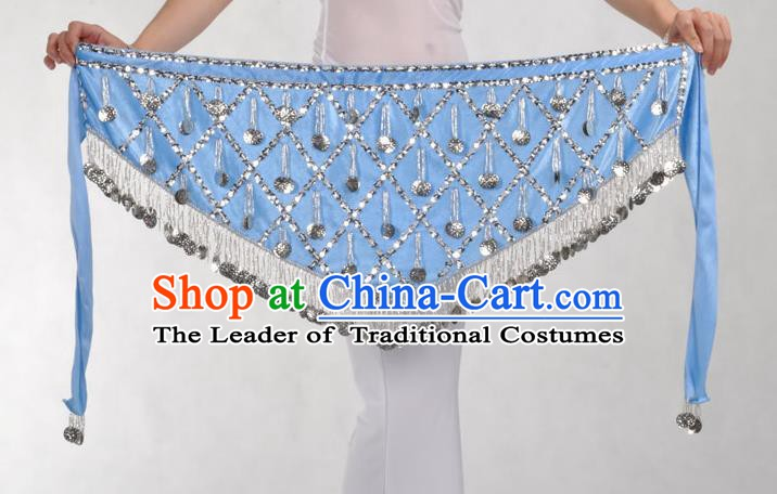Indian Belly Dance Blue Belts Waistband India Raks Sharki Waist Accessories for Women