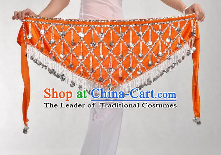 Indian Belly Dance Orange Belts Waistband India Raks Sharki Waist Accessories for Women