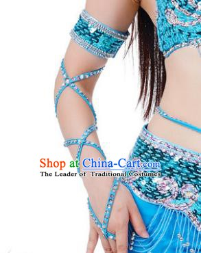 Indian Belly Dance Blue Sleevelet India Raks Sharki Accessories Wristlet for Women